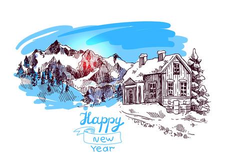Ręcznie rysowane szkic ilustracji Boże Narodzenie krajobraz z domu, świerk i góry. Nas na pocztówki, karty, zaproszenia i ozdoby świąteczne.