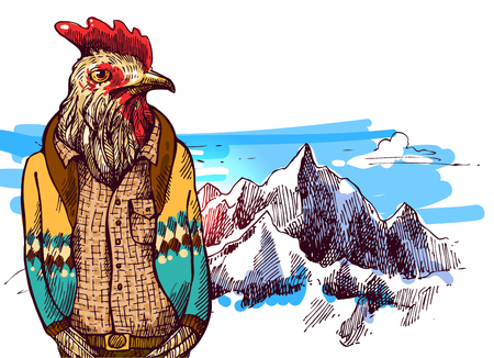 Cock in knitted sweater in mountains. Vector illustration for greeting card, poster, or print on clothes. Fashion Style drawing. Hipster.