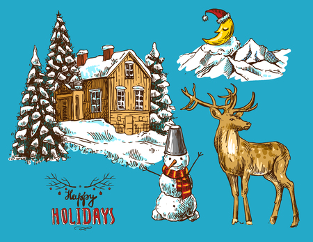 Hand drawn sketch set of illustration christmas landscape with house,  spruce and deer. Us for postcard, card, invitations and christmas decorations. Illustration