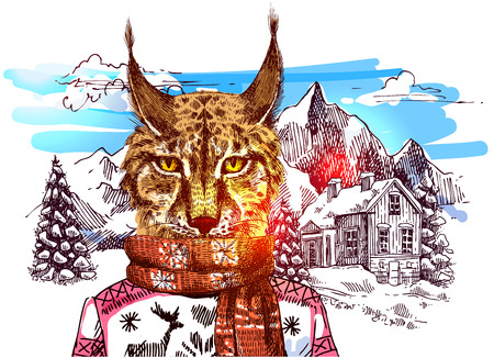 Lynx in knitted sweater in mountains. Vector illustration for greeting card, poster, or print on clothes. Fashion Style drawing. Hipster. Illustration
