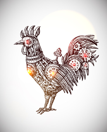 new technology: Steampunk card. Retro illustration with mechanical cock. Vintage invitation.Gear rooster in a sketch style. Stylized  illustration. Mechanical creature for tattoo design.  Symbol of year 2017