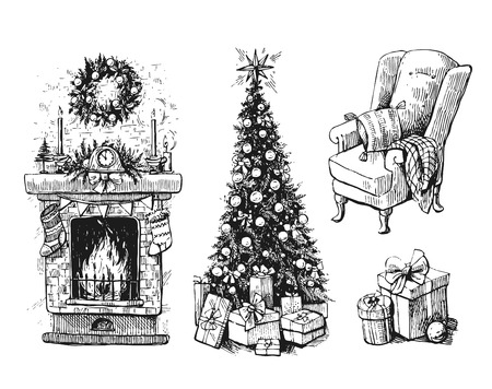 mantel: Sketch vector illustration set with christmas tree and fireplace. Us for postcard, card, invitations and christmas decorations.