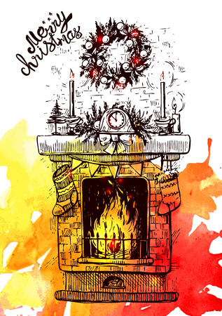 Sketch vector illustration  fireplace. Us for postcard, card, invitations and christmas decorations.