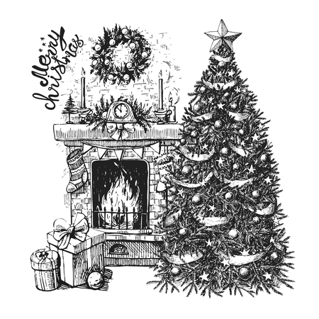 mantel: Sketch vector illustration interior with christmas tree and fireplace. Us for postcard, card, invitations and christmas decorations.