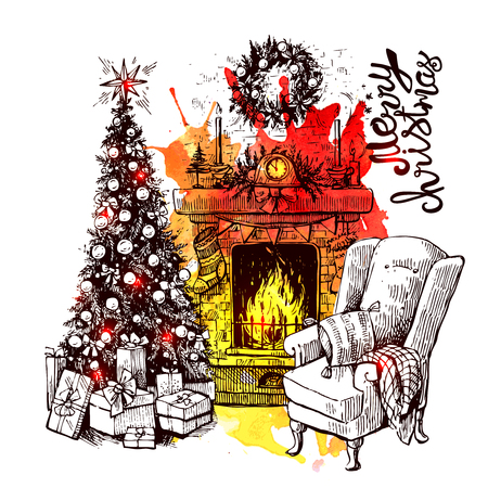 Sketch vector illustration interior with christmas tree and fireplace. Us for postcard, card, invitations and christmas decorations.