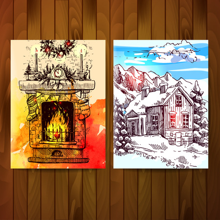 mantel: Set of christmas cards. Sketches of fireplace and winter landscape with house and mountains.