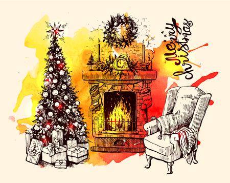Schets vector illustratie interieur met kerstboom en open haard. Ons voor briefkaart, kaarten, uitnodigingen en kerstversiering.
