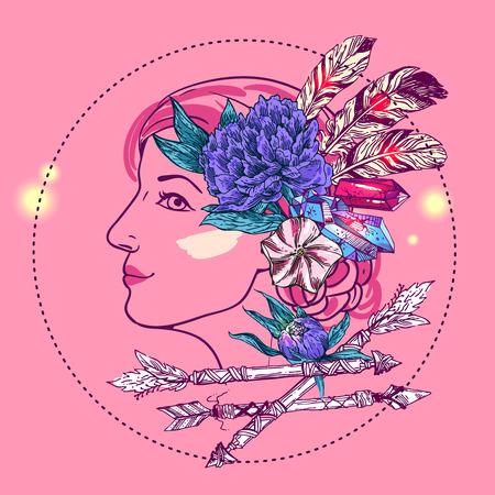 Belle dessiné à la main illustration visage de femme avec des fleurs, flèche et plumes. portrait Fasion. Boho dessin de style. Vecteurs