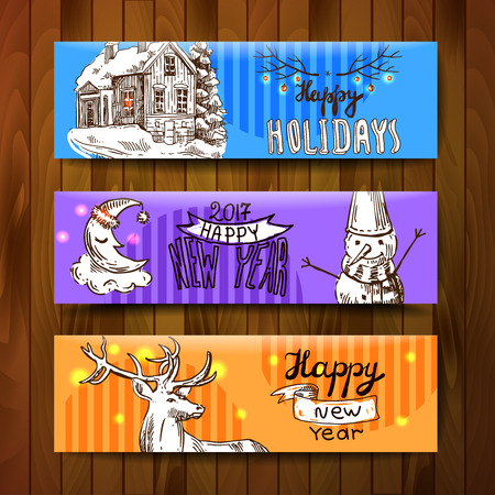 xmas linework: Sketch vector banners merry christmas and happy new year
