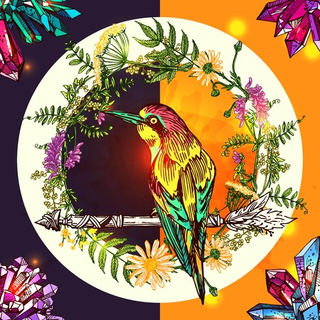 Beautiful hand drawn vector illustration bird and arrow. Boho style drawing. Use for t-shirts, print, poster, postcard, wedding invitations.