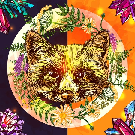 Illustration with fox. Hand drawn vector background with wildflowers and crystall. Boho style drawing. Us for print for t-shirt smart phone poster web.
