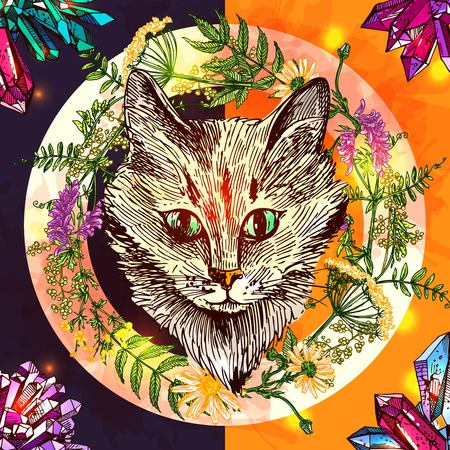 moggie: Illustration with cat. Hand drawn vector background with wildflowers and crystall. Boho style drawing. Us for print for t-shirt smart phone poster web.