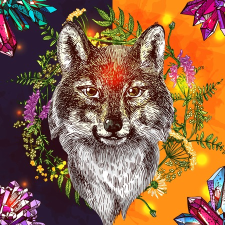 Illustration with wolf. Hand drawn vector background with wildflowers and crystall. Boho style drawing. Us for print for t-shirt smart phone poster web. Illustration