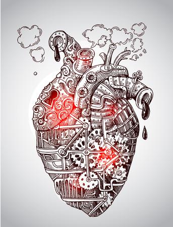 Coeur mécanique d'illustration. Vecteur dessiné à la main. Style Steampunk. Nous pour impression pour t-shirt, téléphone intelligent, affiche, web.Happy Valentine s Day card.