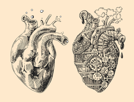 Illustration of 2 hearts mechanical and alive. Hand drawn vintage vector. Steampunk style. Us for print for t-shirt, smart phone, poster, web.Happy Valentine s Day card.