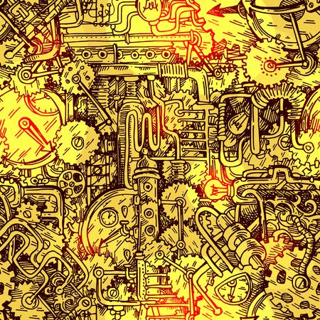 notched: Steampunk style illustration Stock Photo