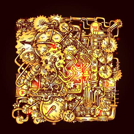 notched: Steampunk style illustration Illustration