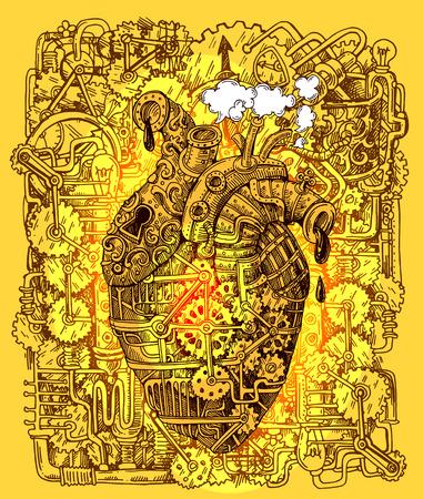 coeur mécanique steampunk Banque d'images
