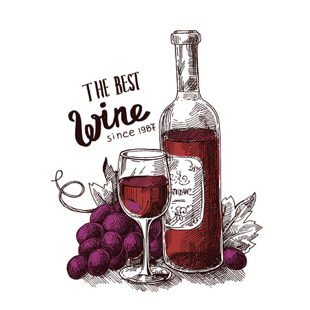 illustration with wine