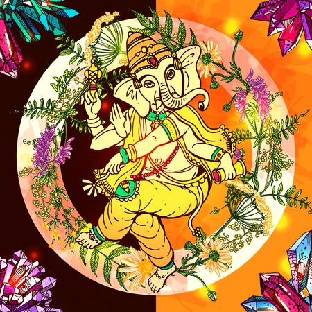 om: Vector illustration with Ganesha.