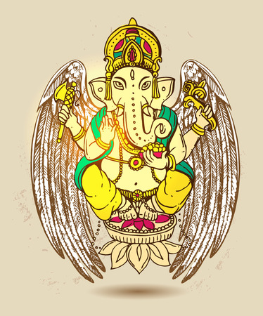 Vector illustration with Ganesha.