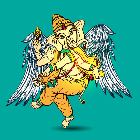 Vector illustration with Ganesha.