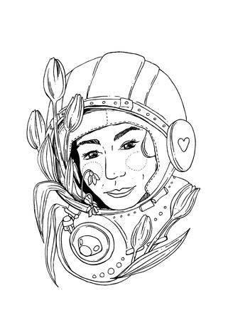 femine: illustration woman space Illustration
