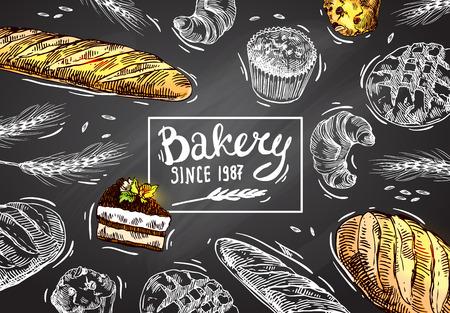 Hand drawn vector illustration bakery.