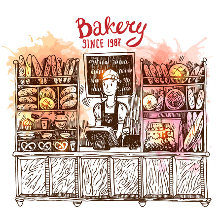 Hand drawn vector sketch interior of bakery shop.