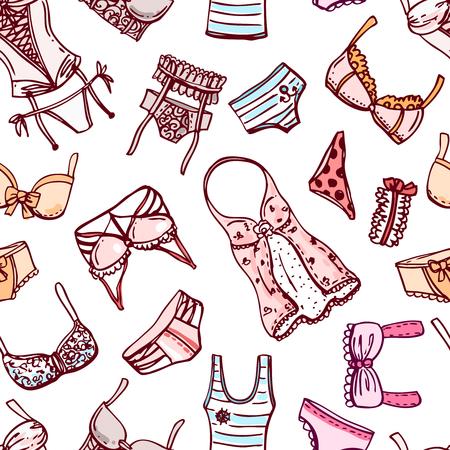Hand drawn icons underwear Vetores