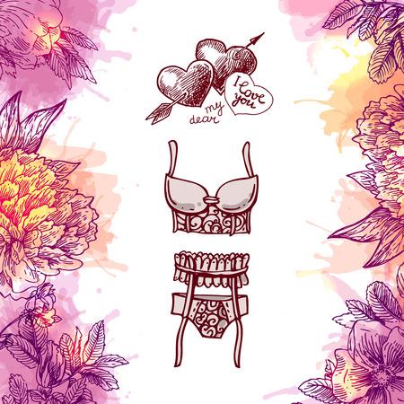 Hand drawn icons underwear Illustration