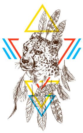 Cool dessin dessin à la main guépard Banque d'images - 75843211
