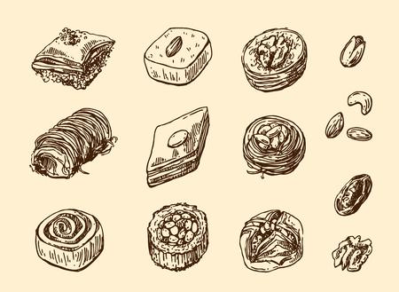 Oriental sweets illustration.