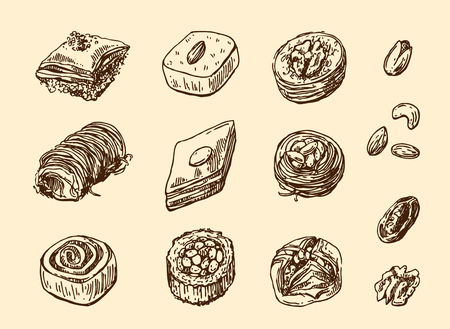 Oriental sweets illustration.
