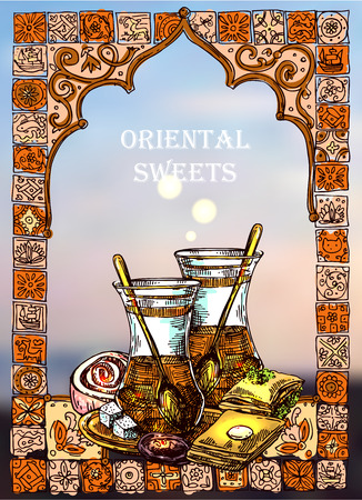 East tea illustration. Oriental sweets and teapot. Good for invitations, cards, postcards Illustration