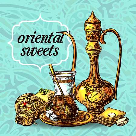 East tea illustration. Oriental sweets and teapot. Good for invitations, cards, postcards