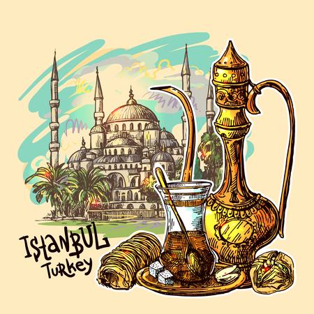 Ost-Tee-Illustration mit Istanbul auf Hintergrund. Orientalische Süßigkeiten und Teekanne. Gut für Einladungen, Karten, Postkarten Standard-Bild - 76736882