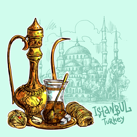 East tea illustration with Istanbul on pattern. Oriental sweets and teapot. Good for invitations, cards, postcards