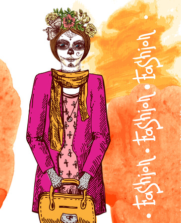 Head of  girl with day of the dead make up. Illustration