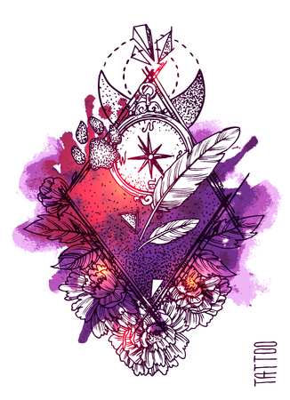 Hand drwan sketch illustration. Tattoo style.