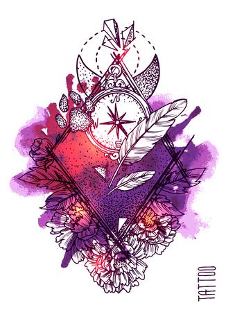 graphics design: Hand drwan sketch illustration. Tattoo style.