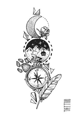 compass rose: Hand drwan sketch illustration. Tattoo style.
