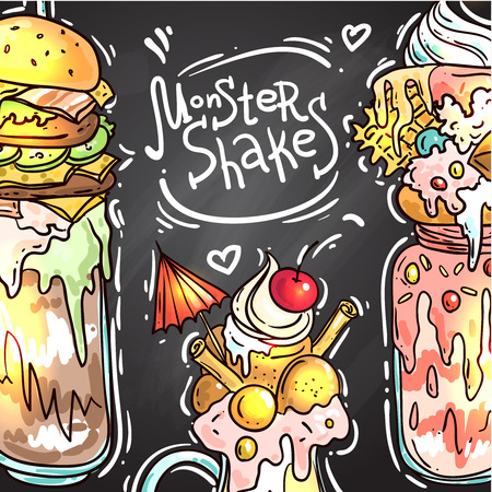 illustration monster shake