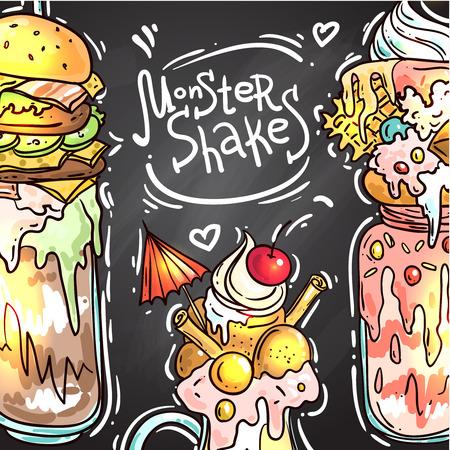 illustration monster shake