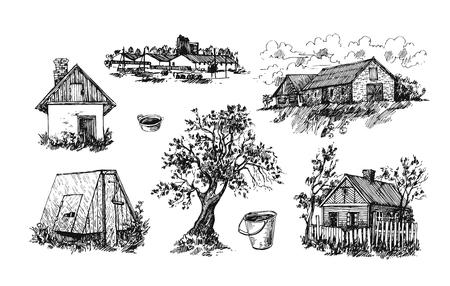 hamlet: Illustration eco farm