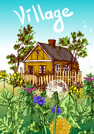 garden peas: illustration village house