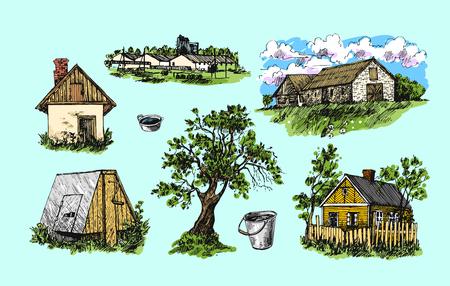 hamlet: illustration eco farm Illustration