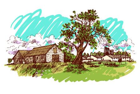 hamlet: illustration village house