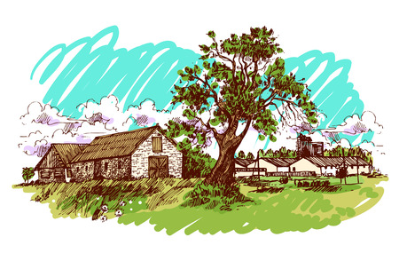 illustration village house