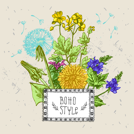 Hand drawn vector illustration with  wildflowers. Decorative floral sketches. Us for skrapbuking, tissue, textile, cloth, fabric, web material